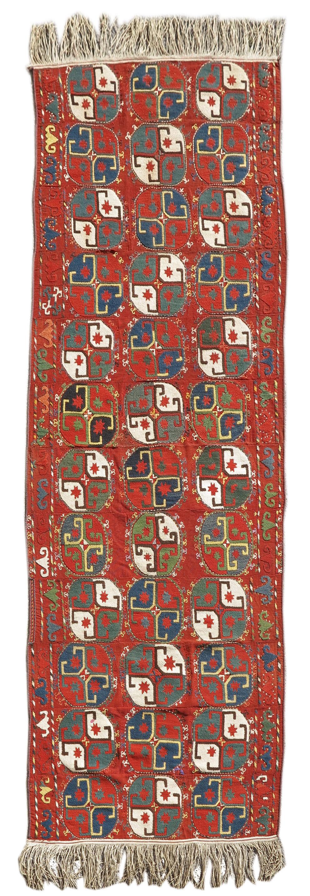 Uzbek mixed technique flatwoven rug