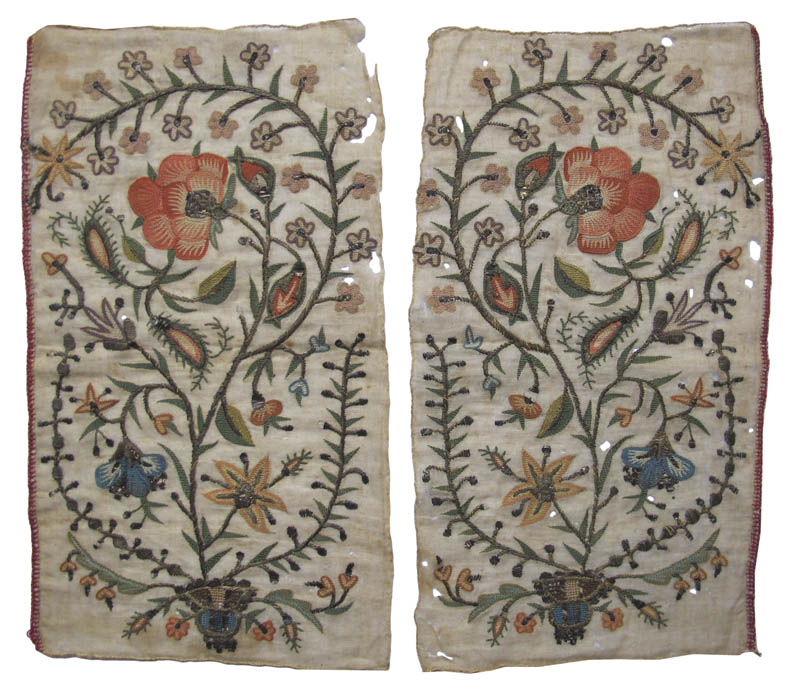 Pair Silk/Metal Thread Embroideries