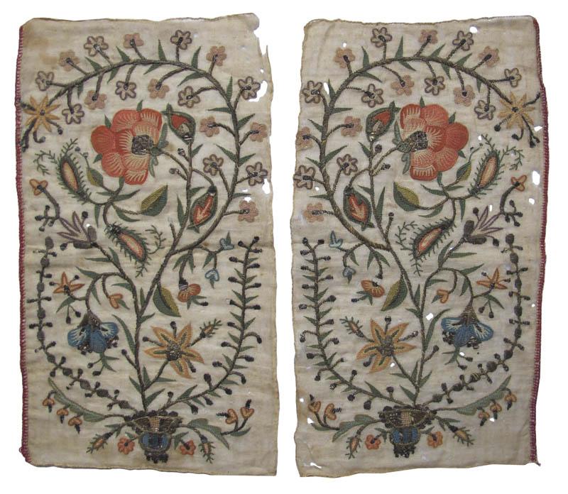 Pair Silk/Metal Thread Embroideries